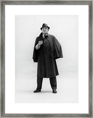 Forrest Tucker Wearing A Tweed Coat Framed Print by Leonard Nones