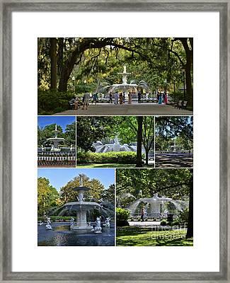 Forsyth Fountain Collage Framed Print
