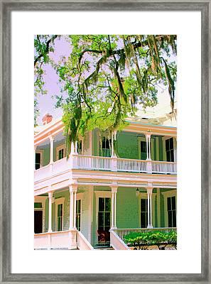 Forsyth Porch Savannah Ga Framed Print
