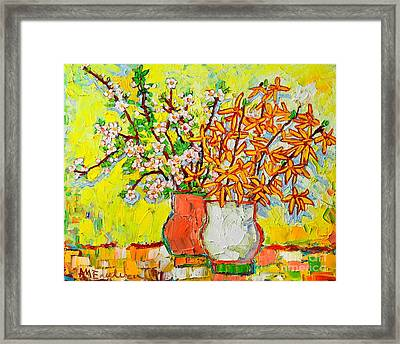 Forsythia And Cherry Blossoms Spring Flowers Framed Print