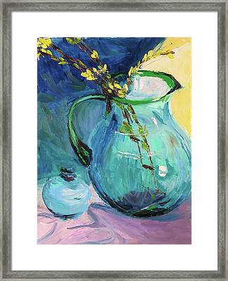 Forsythia In A Glass Jar Framed Print