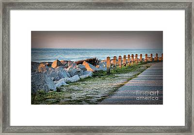 Fort Fisher Rocks At  Sunrise Framed Print