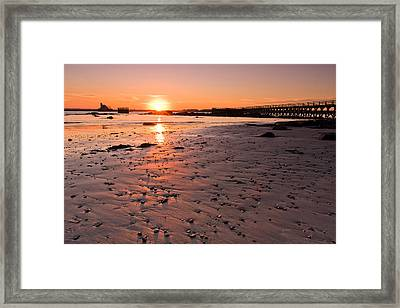 Fort Foster Sunset Framed Print by Jeff Sinon