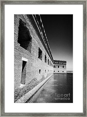 Fort Jefferson Brick Walls With Moat Dry Tortugas National Park Florida Keys Usa Framed Print by Joe Fox
