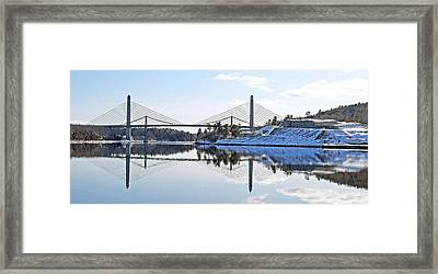 Fort Knox And Bridges Reflection In Winter Framed Print