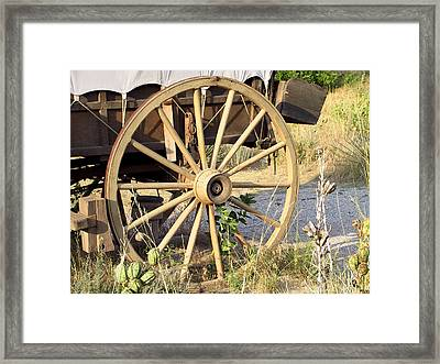 Fort Laramie Wy - Moving West On Wagon Wheels Framed Print by Christine Till