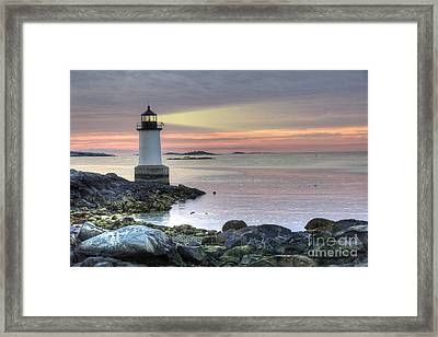 Fort Pickering Lighthouse At Sunrise Framed Print by Juli Scalzi