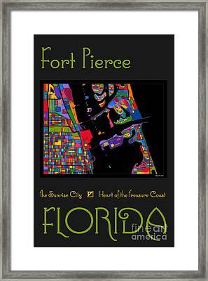Fort Pierce Map No.2 Framed Print by Megan Dirsa-DuBois