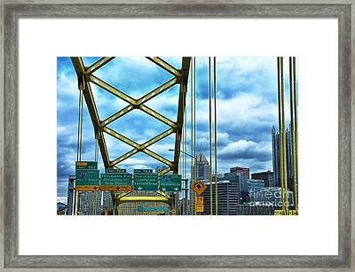 Fort Pitt Bridge And Downtown Pittsburgh Framed Print by Thomas R Fletcher
