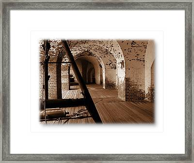 Framed Print featuring the photograph Fort Pulaski Arches Sepia by Jacqueline M Lewis