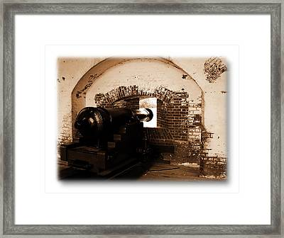 Framed Print featuring the photograph Fort Pulaski Canon Sepia by Jacqueline M Lewis
