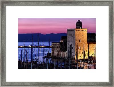 Fort Saint-jean At Night Framed Print by John Rizzuto