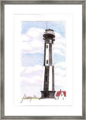 Framed Print featuring the painting Fort Story Lighthouse Virginia  Beach Va by Rod Ismay