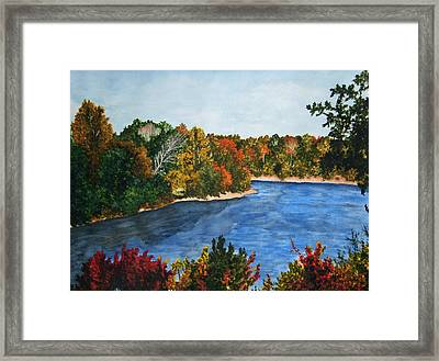 Fort Toulouse Coosa River In Fall Framed Print by Beth Parrish