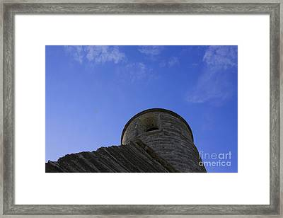 Framed Print featuring the pyrography Fort Tower by Chris Thomas