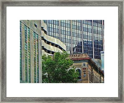 Fort Worth Old And New Framed Print by Kathy Churchman