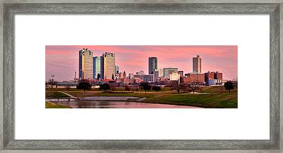 Framed Print featuring the photograph Fort Worth Skyline At Dusk Evening Color Evening Panorama Ft Worth Texas  by Jon Holiday