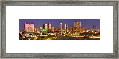 Framed Print featuring the photograph Fort Worth Skyline At Night Color Evening Panorama Ft. Worth Texas by Jon Holiday