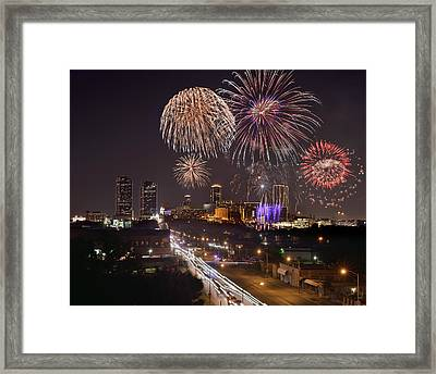 Framed Print featuring the photograph Fort Worth Skyline At Night Fireworks Color Evening Ft. Worth Texas by Jon Holiday