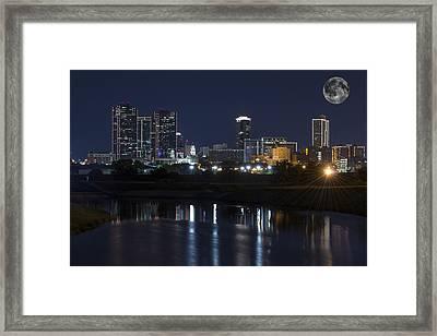 Fort Worth Skyline Super Moon Framed Print by Jonathan Davison