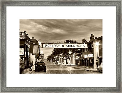 Fort Worth Stock Yards In Sepia Framed Print