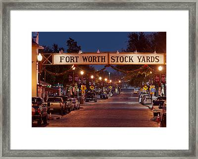 Fort Worth Stock Yards Night Framed Print