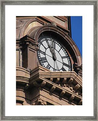 Fort Worth Texas Courthouse Clock Framed Print by Shawn Hughes
