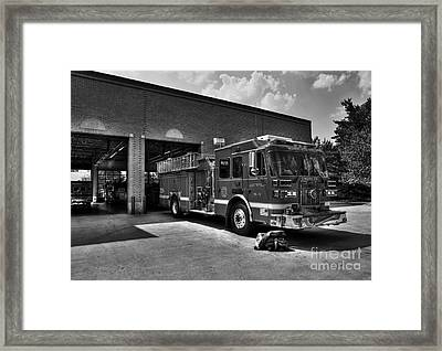 Fort Wright Fire Station Bw Framed Print by Mel Steinhauer