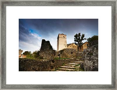 Fortified Church At La Couvertoirade Framed Print