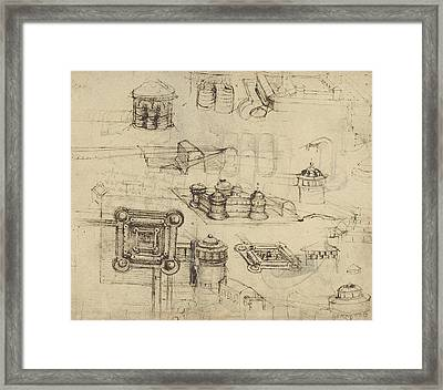 Fortress From Atlantic Codex  Framed Print by Leonardo Da Vinci
