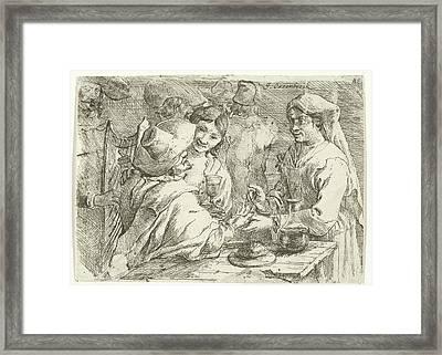 Fortune Teller With A Customer, Jan Van Ossenbeeck Framed Print by Jan Van Ossenbeeck