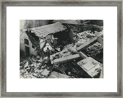 Forty Dead In Flats Collapse In Italy Framed Print by Retro Images Archive