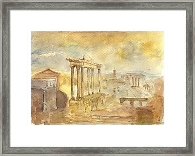 Forum Romano Framed Print by Juan  Bosco