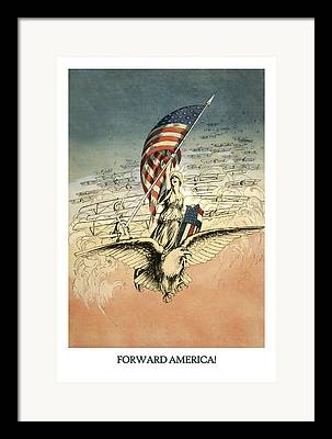 Flag Of Usa Drawings Framed Prints