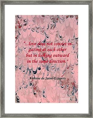 Forward Looking Love Framed Print by Barbie Corbett-Newmin