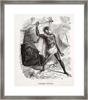 Fossil Man By Boitard, 1861 Framed Print by Paul D. Stewart
