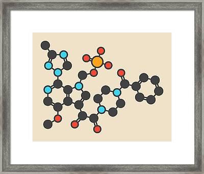 Fostemsavir Hiv Virus Drug Molecule Framed Print by Molekuul