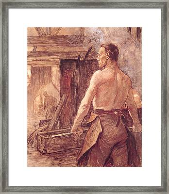 Foundry Worker, 1902 Pastel & Gouache On Paper Framed Print by Constantin Emile Meunier
