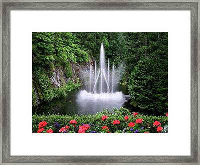 Fountain And Flowers Framed Print