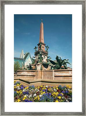 Fountain And Monument In Center Framed Print
