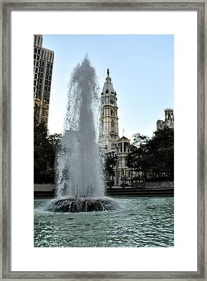 Fountain And Philadelphia City Hall Framed Print by Bill Cannon