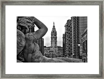 Fountain And Philadelphia City Hall In Black And White Framed Print by Bill Cannon