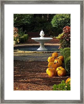 Framed Print featuring the photograph Fountain And Pumpkins At The Elizabethan Gardens by Greg Reed