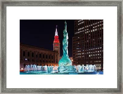 Fountain And Terminal Tower In Red 2 Framed Print