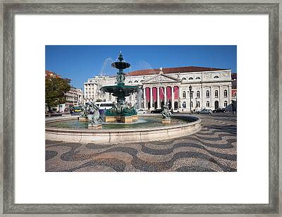 Fountain And Theater On Rossio Square In Lisbon Framed Print by Artur Bogacki