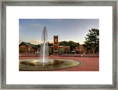 Fountain And Tower Framed Print