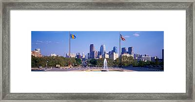 Fountain At Art Museum With City Framed Print by Panoramic Images