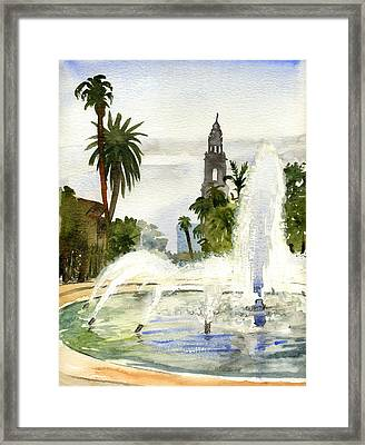 Fountain At Balboa Park Framed Print