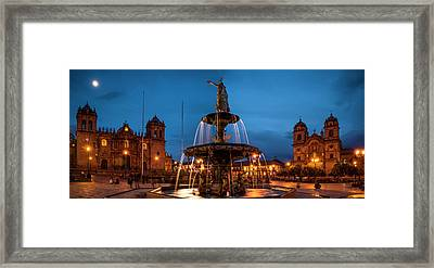Fountain At La Catedral, Plaza De Framed Print by Panoramic Images