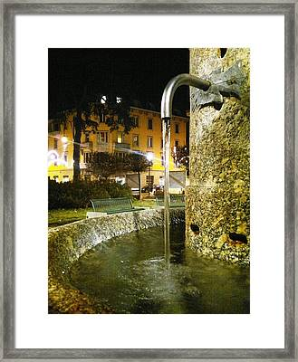 Fountain At Night Framed Print by Giuseppe Epifani